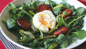 Chorizo asparagus and watercress salad w egg
