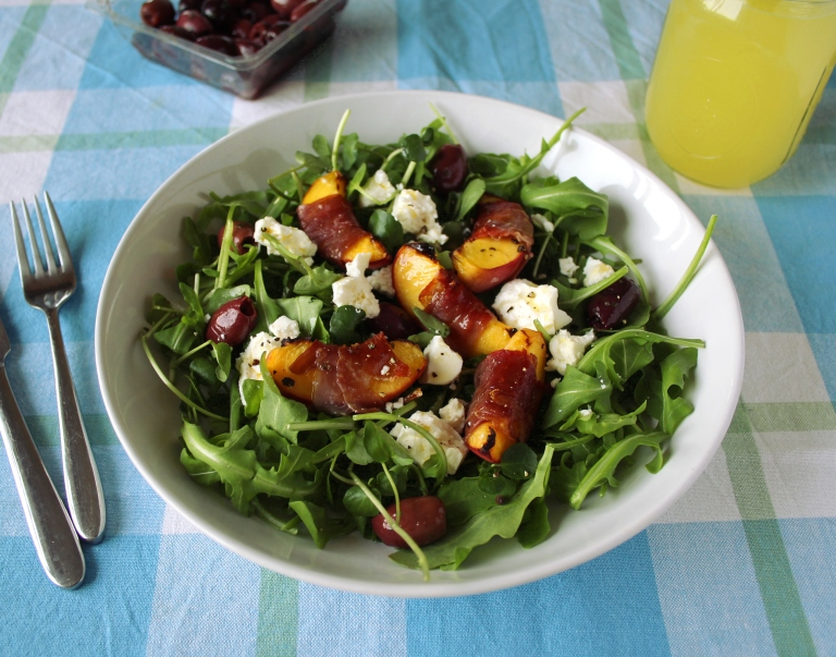 Peach, parma ham and feta salad