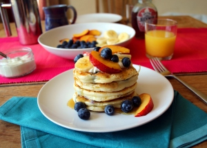 Blueberry pancakes with fruit