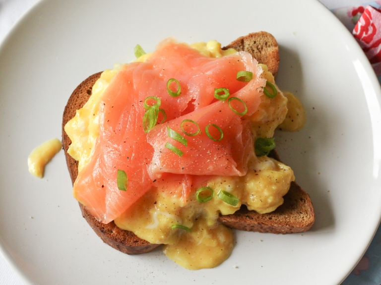 Smoked salmon and scrambled eggs top
