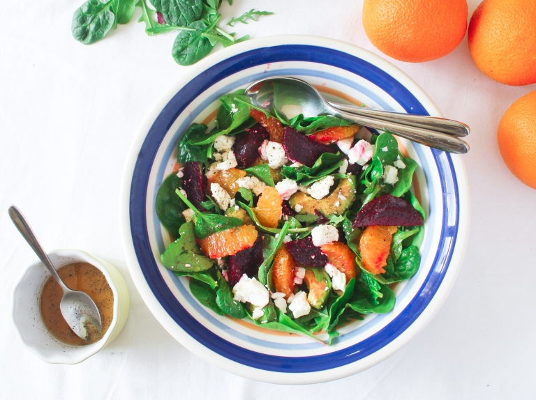 Beetroot orange and feta salad