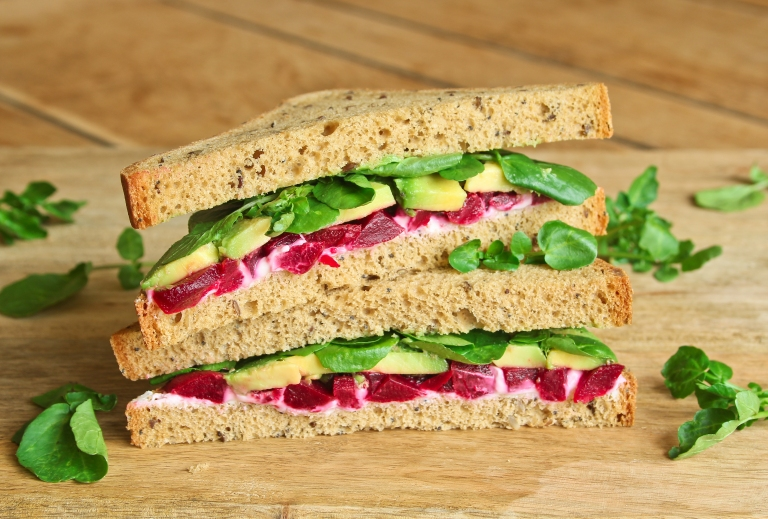 Beetroot cheese and avocado sandwich